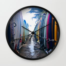 Surfboards at the Beach Wall Clock
