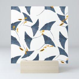 Manta valley print // Hand Drawn Mantas with Orange Fish pattern Mini Art Print