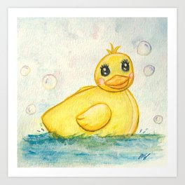 Bath Time Ducky - Watercolor Art Print