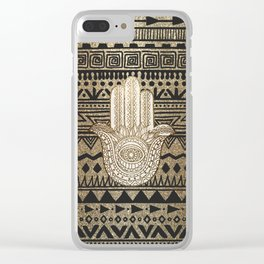 Native Pattern Golden Hamsa Hand Clear iPhone Case