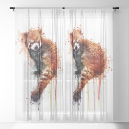 Red Panda Sheer Curtain