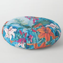 Blue Jungle of Orange Lily and Pink Trumpet Vine Floral Floor Pillow