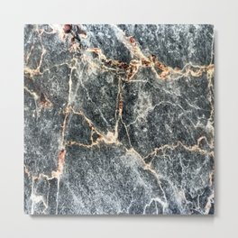 Gray Slate Marble Pattern With Pastel Copper Veins Metal Print
