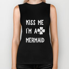 Kiss Me I_m A Mermaid With Shamrock St Patrick's Day Biker Tank