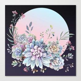 Succulent full moon Canvas Print