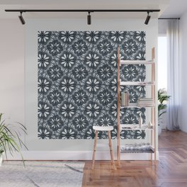 Continuous Flowers Pattern Tessellation in Blue Wall Mural