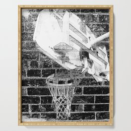 Black and white basketball artwork Serving Tray