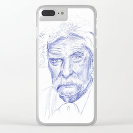 Mark Twain Portrait in Blue Bic Ink Clear iPhone Case