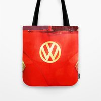 vw bus Tote Bags featuring VW Bus by AndreaClare