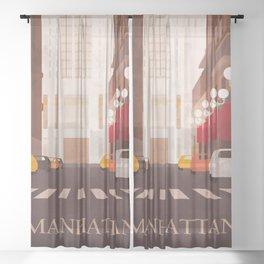 New York Manhattan watercolor Sheer Curtain
