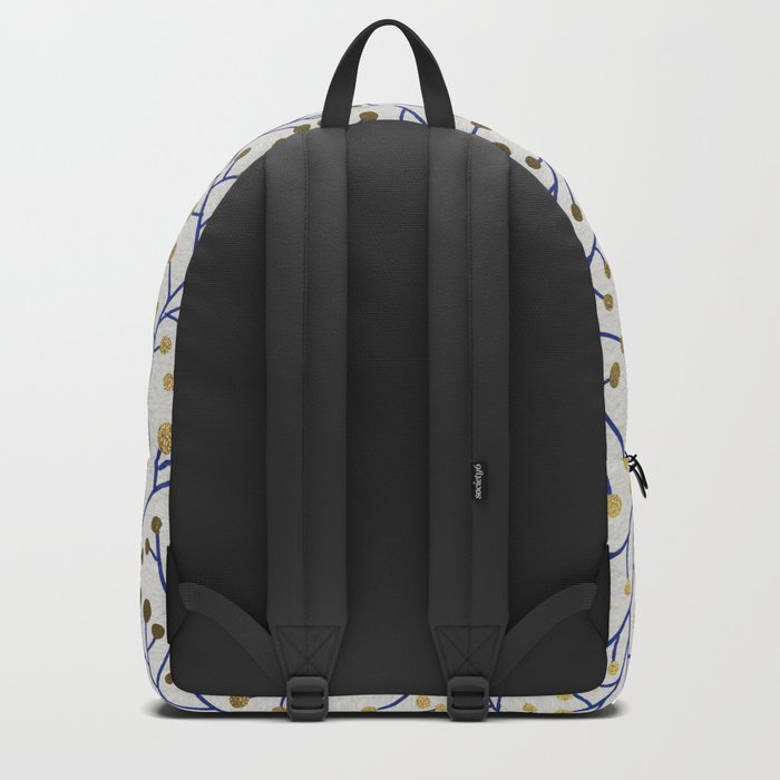 Berry Branches - Navy & Gold Backpack