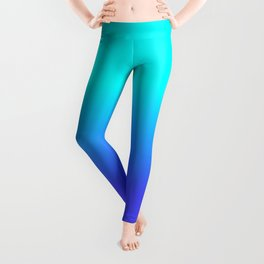 Neon Blue and Bright Neon Aqua Ombré Shade Color Fade Leggings