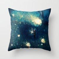 fireflies Throw Pillows featuring Fireflies by Morgan Ofsharick - meoillustration