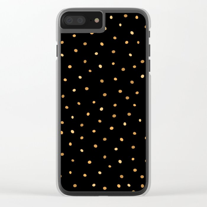 Dazzling Golden Polka Dots Clear iPhone Case