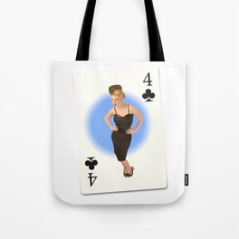 """Four of Clubs"" - Playful Pinup - Retro Girl on Playing Card by Maxwell H. Johnson Tote Bag"