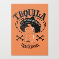 tequila Canvas Prints featuring Tequila Tradicional by Tshirt-Factory