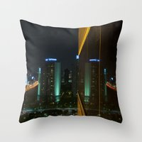 seoul Throw Pillows featuring Seoul Reflection by Anthony M. Davis