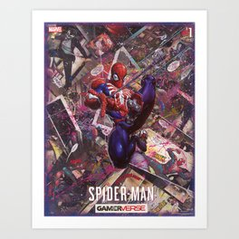 Spider Man Gamer Comic Collage Art Print