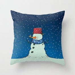 A song for Mr. Snowman Throw Pillow