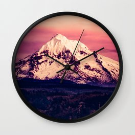 Mt Hood Mountain with Snow Wall Clock