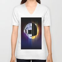 daft punk V-neck T-shirts featuring Daft Punk by Alevan