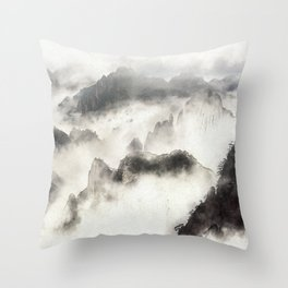 Chinese mountain drawing Throw Pillow