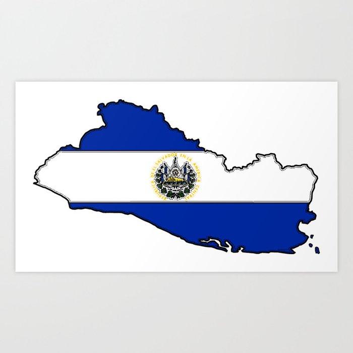 El Salvador Map with Salvadoran Flag Art Print by ...