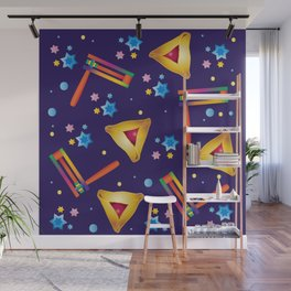 Happy Purim Festival Jewish Holiday Symbols Grogger, hamantaschen cookies, masque, confetti Illustration  Wall Mural