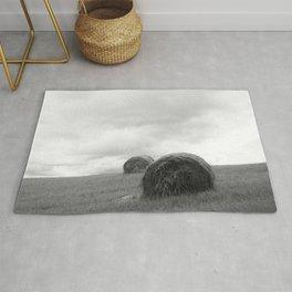 Mountain Farm, Hay Rolls, Impending Storm by Steve Ricci Rug