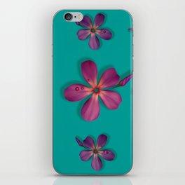 """""""Coral, pink & orange Violets over a teal background"""" iPhone Skin"""