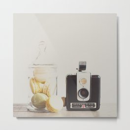 a vintage kodak brownie camera with delicious french macarons Metal Print