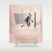engineer Shower Curtains featuring The domino engineer by Yann Pendaries
