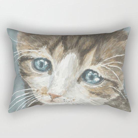 Kitten, watercolor potrait Rectangular Pillow