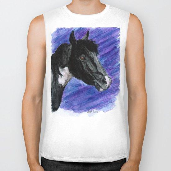 Watercolor Paint Horse Biker Tank