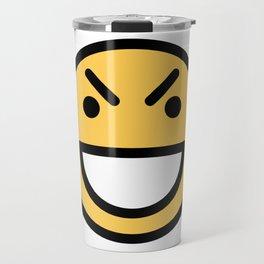 Smiley Face   Big Grinning Eyebrow Raised Face Travel Mug