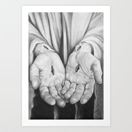 Jesus Hands Art Print
