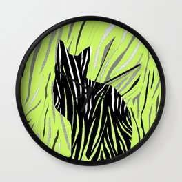 Black House Cat on Grass Wall Clock