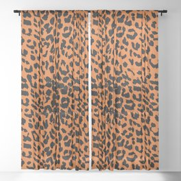 Leopard Russet Orange Sheer Curtain