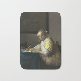 A Lady Writing Oil Painting by Johannes Vermeer Bath Mat
