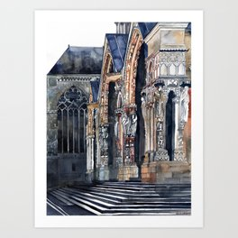 Chartres cathedral's entrance Art Print