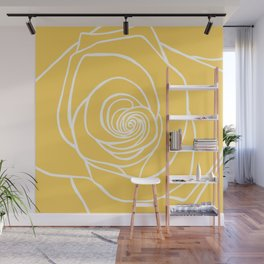 Sunshine Yellow Rose Drawing Wall Mural