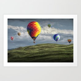 Hot Air Balloons over Green Fields Art Print