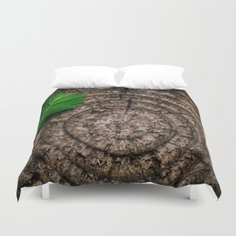 Green leaf Brown wood Duvet Cover
