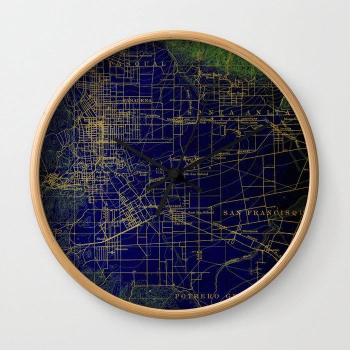 Pasadena antique map year 1896, blue and green artwork Wall Clock