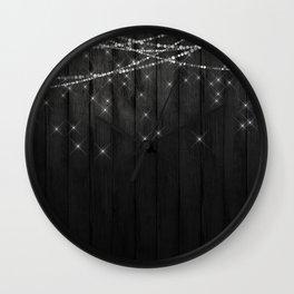 Fairy Lights on Wood 07 Wall Clock