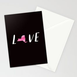 Love New York : Pink Watercolor on Black Stationery Cards