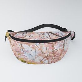 Cherry pink blossoms watercolor painting #14 Fanny Pack