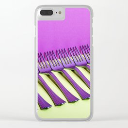 still life with forks on a colorful background Clear iPhone Case