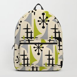 Mid Century Modern Atomic Wing Composition Green & Grey Backpack