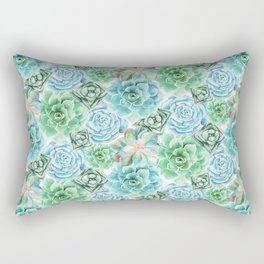 Mint Green Succulents Rectangular Pillow